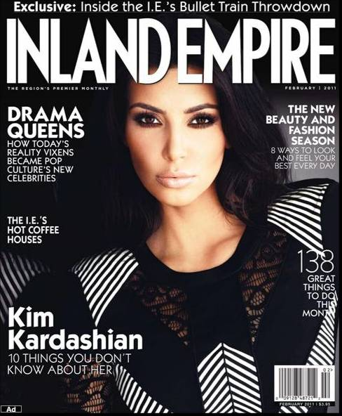 Kim kardashian covers inland empire magazine for february